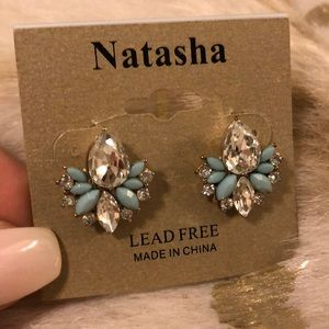 Crystal and Turquoise Earrings NWT